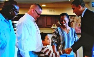 Sur le site de la Maison-Blanche, Barak Obama rendant visite à Tiffany et Richard Santana (photo DR WH)