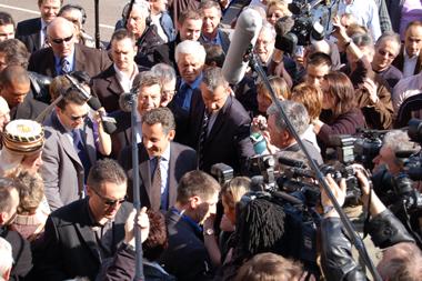 Sarkozy et les caméras, juste une histoire d'ascension (Photo Dahmane Soudani)