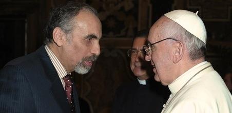 Le pape François, ici avec l'Algérien Mustapha Chérif (photo DR)