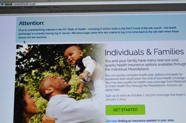 Preuve du succès d'Obamacare, le site des services de santé de New York est engorgé (photo d'écran par Dahmane Soudani