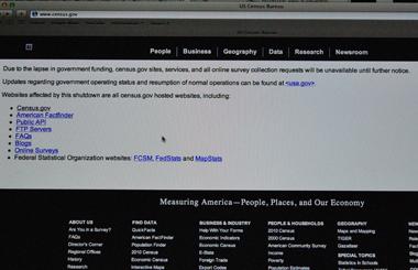 Le site de l'Office fédéral de recensement des Etats-Unis ne répond plus (photo d'écran par Dahmane Soudani)