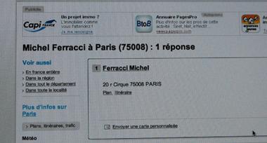 8, rue du Cirque, le nom de Michel Ferracci apparait toujours sur les Pages blanches (photo d'écran DS)