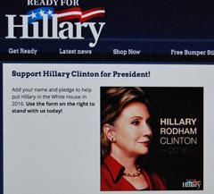 Hillary Rodham Clinton , lance la campagne des souscriptions (photo d'écran DS)