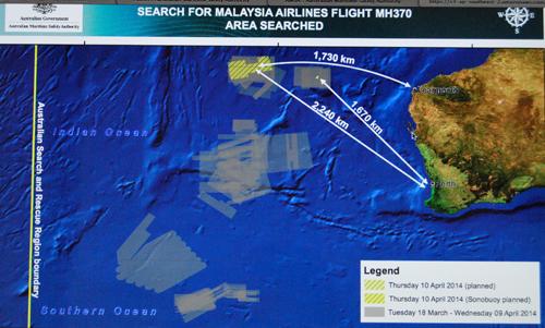 La zone de recherche a évolué vers le nord-est (photo écran site AMSA-DR)