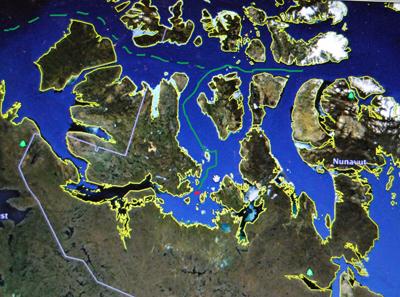 Le distance parcourue par le navire qui vient d'être retrouvé par les équipes de Parcs Canada (illustration Maghnord sur photo d'écran Google Earth)