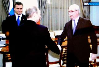Christophe de Margerie avec Vladimir Poutine (photo écran RN, DR)