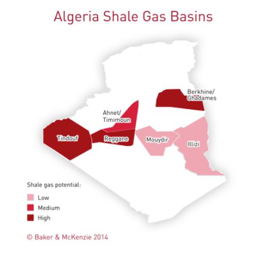 Carte des gaz de schiste en Algérie (source : Shale World)